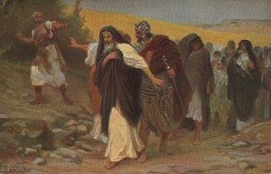 Семей бросает камни в Давида