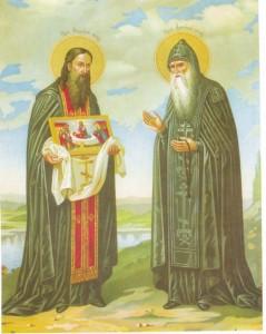 Антоний и Феодосий Печерские с иконой Успения