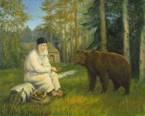 Серафим Саровский с мишкой