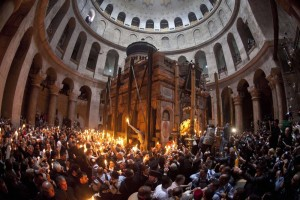 A general view is seen of the Church of Holy Sepulchre during a Christian Orthodox Holy Fire ceremony in Jerusalem's Old City
